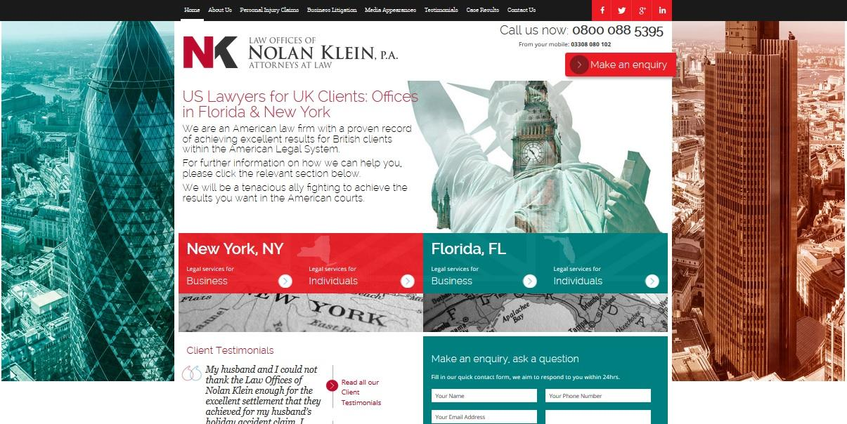 Announcing MLT's first American Client. The Law Offices of Nolan Klein