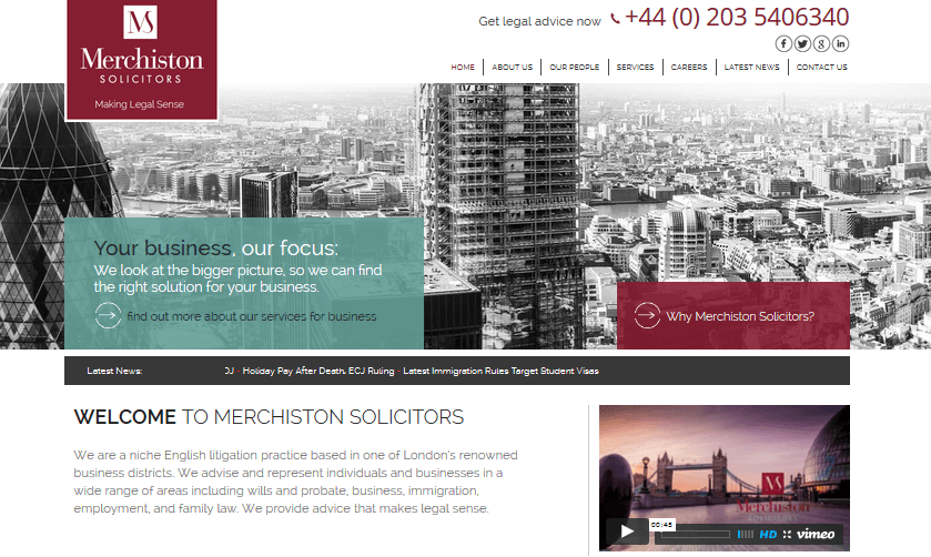 Moore Legal Technology launches new website for English litigation law firm Merchiston Solicitors