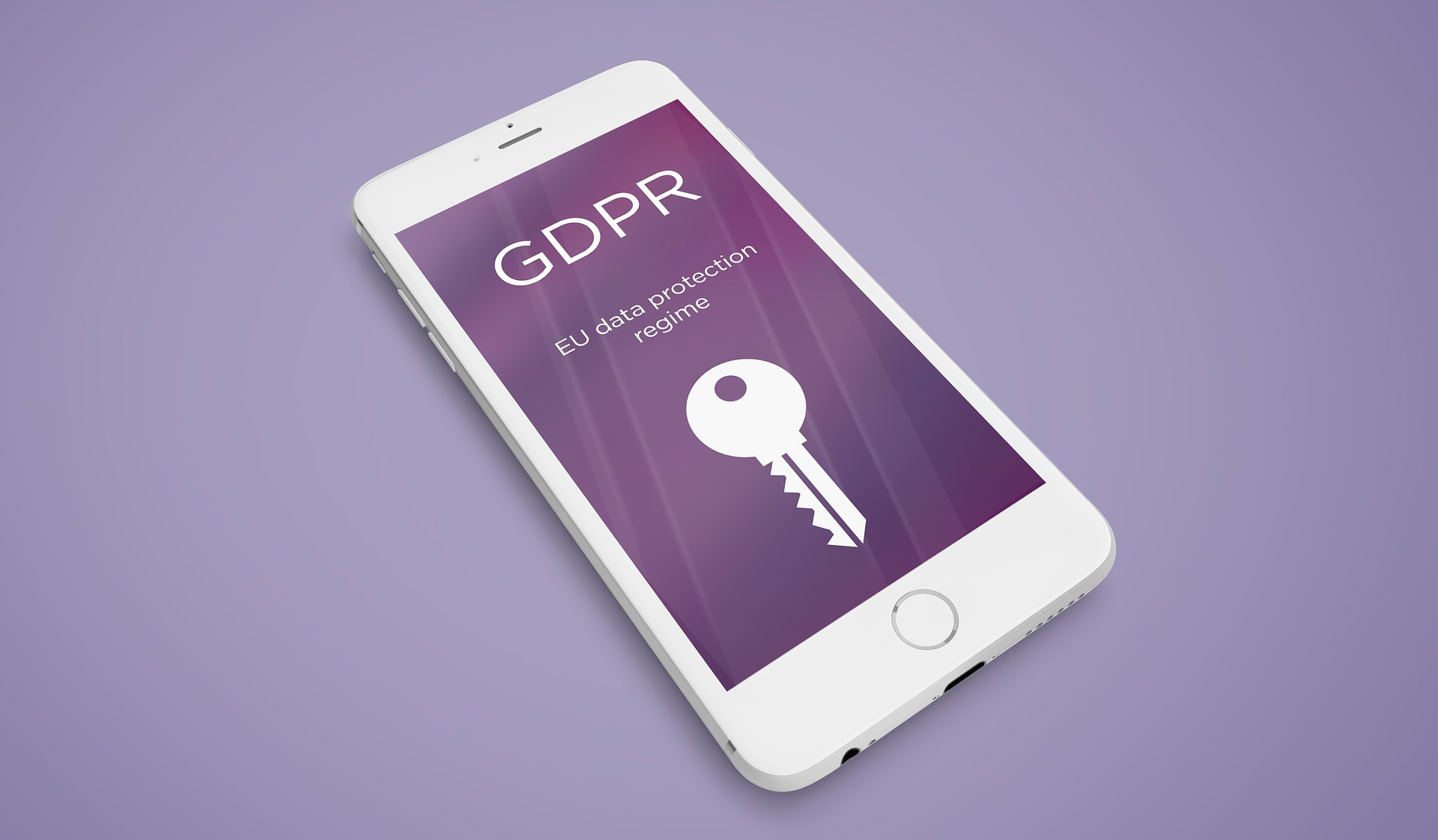 iPhone screen with a purple background, white text reading GDPR and a white key