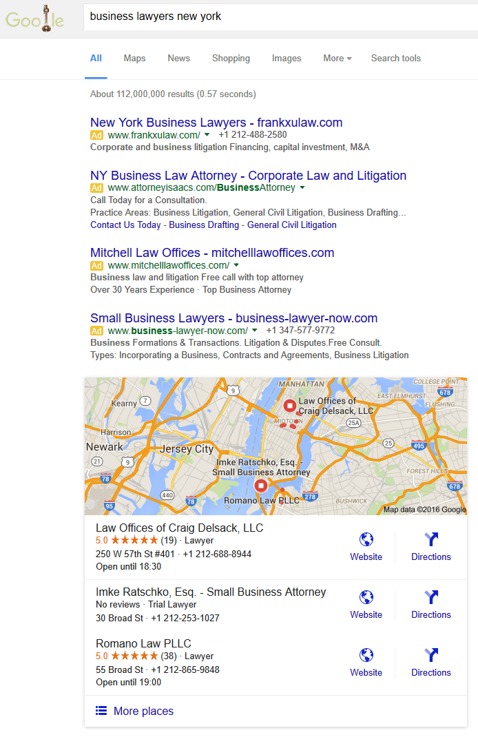 business lawyers new york seo local search rankings example